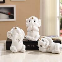 三小象陶瓷摆件办公室桌面大象装饰品家居工艺品礼品创意摆设可爱