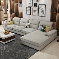 布艺沙发组合现代简约大小户型客厅家具整装拆洗北欧风格乳胶沙发 象牙白 3D棉麻面料
