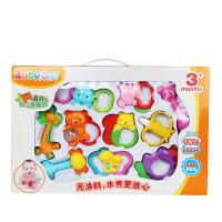 婴儿玩具 澳贝牙胶摇铃新生儿宝宝玩具0-3-6-12个月1岁早教礼盒装