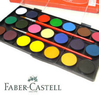 京潮港新:德国辉柏嘉Faber-Castell 21色固体水彩颜料 赠2支水彩画笔