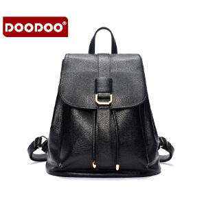 【支持礼品卡】DOODOO 2018新款女包日韩休闲百搭双肩包大容量学院风背包书包旅行女士包包 D6037