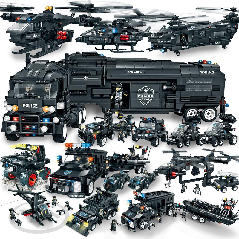 沃马特警战队军事颗粒积木儿童益智拼装玩具兼容乐高男孩6-8-10岁