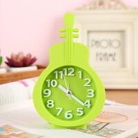 挂墙闹钟 静音创意床头儿童学生闹钟简约卧室无声桌面日版小表挂墙上女房间L 3提琴绿色