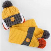 冬季儿童帽子围巾两件套 男宝宝保暖帽子韩版潮女童护耳帽