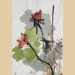 《一塘和气》山东美协会员、中国书画家协会副会长张宝生【真迹763】