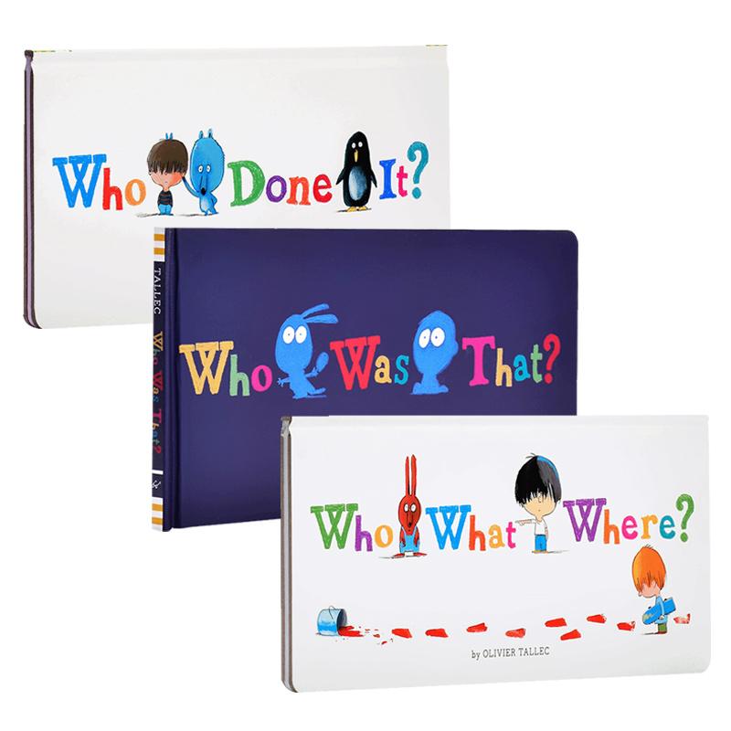 英文原版Who What Where?+Who Done It?到底是谁呀?+谁是假装的?奥立维·塔列克Olivier Tallec趣味亲子互动绘本3册 情境式探索+推理+猜谜找找书 幼儿认知游戏