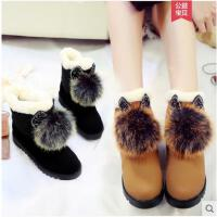 保暖加绒短筒毛毛球雪地靴女冬季新款韩版休闲学生百搭女鞋潮
