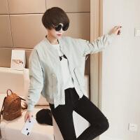 春季2018新款韩版时尚系带短外套女立领浅色小清新棒球服百搭上衣 M 店主试穿码