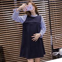 孕妇连衣裙2018新款韩版时尚款潮妈中长款宽松大码上衣春装孕妇装 蓝色