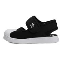阿迪达斯(adidas)童鞋2020男女童贝壳头三叶草儿童休闲运动凉鞋FV7586 黑色