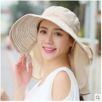 太阳帽骑车帽子女夏天可折叠遮阳帽防紫外线沙滩防晒帽大沿