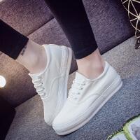 2018年春季新款小白鞋女厚底帆布鞋学生休闲低帮女鞋韩版平底单鞋女
