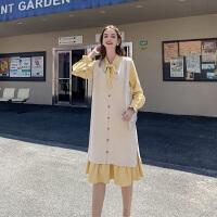 MG小象复古套装女2019新款港风外搭背心裙宽松长袖连衣裙两件套潮