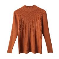 半高领毛衣女套头秋冬新款加厚修身麻花针织衫紧身打底衫长袖内搭