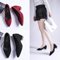中跟职业正装高跟鞋女 百搭尖头黑色工作鞋女 韩版时尚粗跟黑色单鞋女