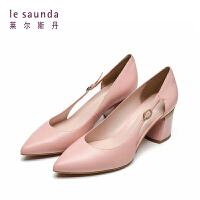 莱尔斯丹 2019春夏新款尖头纯色粗高跟通勤女单鞋 AM56337