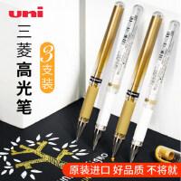三菱高光笔um153高光白笔1.0mm中性笔金色婚礼会议签名笔手绘金银白色签字笔油漆笔水彩颜料0.8留白笔uniball