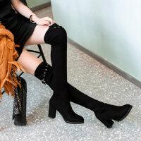 粗跟瘦瘦靴长靴女过膝新款百搭韩版女靴单靴高跟骑士靴