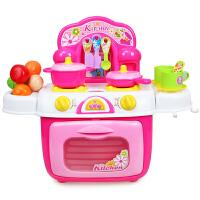 儿童过家家玩具灯光音效仿真厨房益智场景女孩做饭餐具套装 橙色