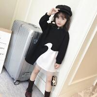 童装女童连衣裙秋装2017新款裙子韩版时尚小女孩打底裙儿童公主裙 黑色