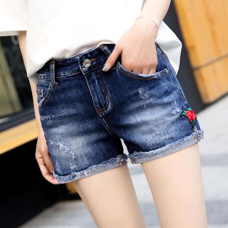 Freefeel 2018夏季新款牛仔短裤女时尚印花中腰卷边短裤BH5019
