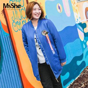 MsShe大码女装2017新款冬装夹缎面棒球衫夹克外套M1740520