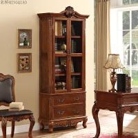 家具美式乡村实木酒柜碗柜储物柜餐边柜欧式玻璃双门书柜 仿古棕色 双门