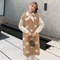 MG小象套装毛衣女两件套2019新款秋冬韩版波点针织背心裙休闲衬衫
