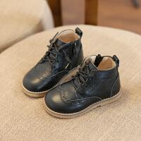 儿童马丁靴秋冬透气真皮靴子男童1-3-5岁时尚皮靴女宝宝加绒短靴 黑色 单