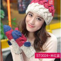毛线手套女网红同款时尚韩版时尚连指挂脖针织手套学生可爱加厚连指手套户外运动新品
