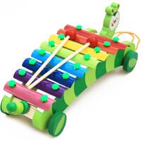 木制儿童毛毛虫八音琴手敲琴木琴音乐敲琴 宝宝早教益智玩具1-3岁