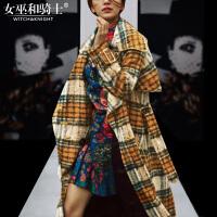 2017冬装新款欧美高端时尚提花连衣裙羊毛毛呢腰带中长款大衣外套