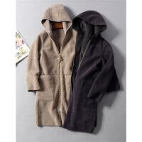出口日本时尚两面穿设计长款连帽仿皮毛一体大衣外套秋冬女装0.94