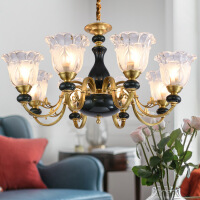 照明美式大气欧式陶瓷全铜吊灯饰家用卧室餐厅大厅纯铜客厅大灯具