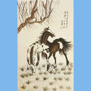现代画家,美术教育家,建国后任中央美术学院院长,中华全国美术工作者协会主席徐悲鸿黑白(2马2)