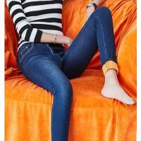 女牛仔裤 高腰裤 大码弹力裤 小脚裤 弹力加厚加绒牛仔裤女高腰修身长裤黑色铅笔小脚裤大码