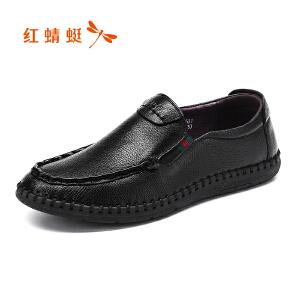 红蜻蜓男鞋2017年秋季新款皮鞋时尚日常休闲套脚鞋真皮舒适单鞋男