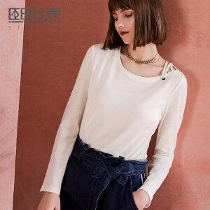 熙世界一字领纯色长袖T恤女2018春装新款白色简约小衫111LT067