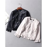 西班牙单 洋气花瓣边下摆 真皮质感9分袖PU夹克外套春夏女装 0.45