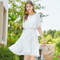 秋水伊人连衣裙2020夏装新款女装白色收腰气质桔梗裙女