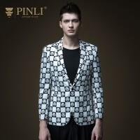 PINLI品立2020春季新款男装修身印花西装休闲西服外套B191106267