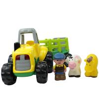 【当当自营】宝乐童益智农场拖拉机儿童玩具车惯性拆装农夫牛马运输车玩具套装6816