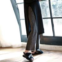 2017孕妇裤子秋装新款针织阔腿长裤托腹直筒大码怀孕期外穿潮妈