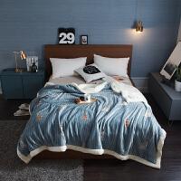 君别毯子床单加厚双层加厚毛毯防滑保暖盖毯冬季简约床单被子羊羔绒毯子双人