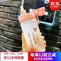 玻璃杯便携 吸管水杯女玻璃杯学生创意可爱便携刻度韩版个性潮流夏天网红杯子