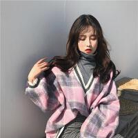 0 冬季新款韩版ulzzang长袖高领套头宽松显瘦假两件格子毛衣上衣