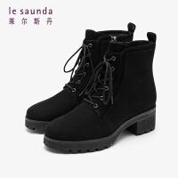 莱尔斯丹 秋冬商场同款时尚圆头粗跟马丁靴短靴女靴LS AT53402