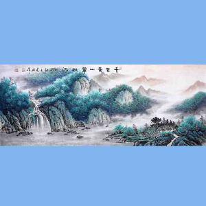 中国青年美术家协会常务理事,中国扇子艺术学会会员,中国山水画院专业画家,国家一级美术师高云鹏(千里青山翠欲流)