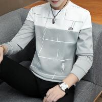 男士长袖t恤秋季薄款上衣服男装圆领秋衣潮流韩版体恤打底衫卫衣