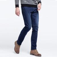 骆驼男装 秋季新款男青年时尚中腰韩版直筒纯色磨白牛仔长裤